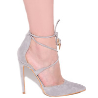 MONA Lace Up Pump in Grey at FLYJANE