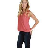 Sale-coral Power Moves Chiffon Top