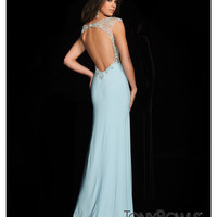 (PRE-ORDER) Tony Bowls 2014 Prom Dresses - Light Blue Sequin Cap Sleeve Open Back Jersey Gown