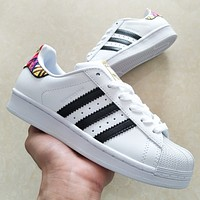 Adidas Superstar Shell New fashion couple sports leisure running shoes White