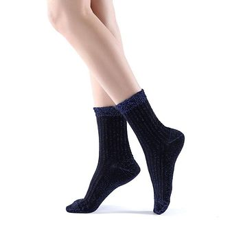 Aliyah Scallop Sparkle Crew Sock | Blue