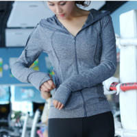 """lululemon""Running fitness yoga quick-drying moisture absorption perspiration blazer Grey"