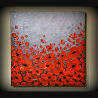 ORIGINAL Modern Art, Abstract Landscape Artwork, Red Poppies Acrylic Painting 20 x 20 Ready to Hang Wall Decor, Perfect gift for her