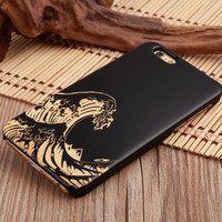 Japanese Tattoo Wave Ultra Thin 100% Natural Wood Phone Case For iPhone 7 7Plus 6 6s Plus 5 5s SE