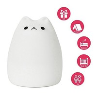 Mystery Portable Silicone LED Multicolor Night Lamp, USB Rechargeable Children Night Light with Warm White & 7-Color Breathing Dual Light Modes, Sensitive Tap Control for Baby Adults Bedroom (C)