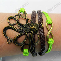 Bracelet---Antique Silver Octopus Woven leather  bracelet
