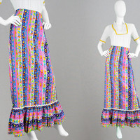 Vintage 70s Maxi Skirt Women Boho Skirt Textured Cotton Skirt Psychedelic Print Bright Floral Skirt Flounce Hem Ankle Length Vertical Stripe