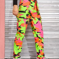 Camo Pattern Flap Pockets Belted Cargo Pants