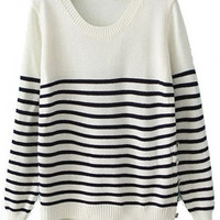 ROMWE | Asymmetric Striped White Jumper, The Latest Street Fashion