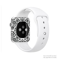 The Black Floral Delicate Pattern Full-Body Skin Kit for the Apple Watch