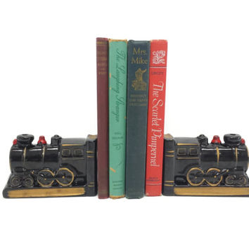 Ceramic Train Bookends, Vintage Made in Japan, Locomotive, Steam Engine, Collectible, Home Office Decor, Boys Room, Library, Study, Bookcase