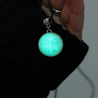Moon Glow in the Dark Moon Choker Necklace Pendant Locket Cord Collar 90s Leather Harness Dress Trendy Boho String Tattoo Bdsm Grunge