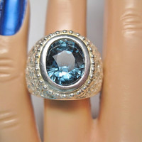 Color Change Sapphire Ring Size 6 Sterling Vintage Diamond