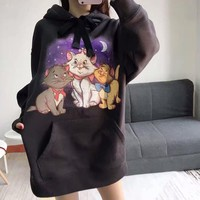 """""""Coach"""" Casual Fashion Letter Cartoon Cat Pattern Embroidery Long Sleeve Hooded Sweater Women Hoodie Tops"""