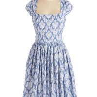 ModCloth Long Cap Sleeves A-line Glorious Glamour Dress