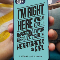 5 Second of Summer Lyric Case For iPhone 4/4s,iPhone 5/5s/5c,Samsung Galaxy S2/S3/S4,Htc one/one X Inspired