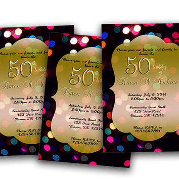 Sparkling Lights Adult Birthday Invitation -  Milestone Birthday Party - Woman Man 40th 50th 60th 70th 80th -  New Year Birthday - Surprise