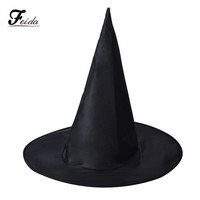 Feida Adult Womens Black Witch Hat For Halloween Costume Accessory