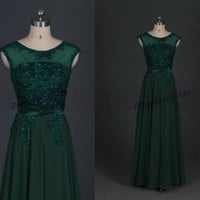 Latest floor length chiffon prom gowns with lace,affordable forest green bridesmaid dress hot,elegant women dresses for wedding party.