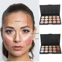 15Colors Cream Makeup Face Contour Kit Highlight Concealer Palette Bronzer with Blender Beauty Cosmetic Set for All available