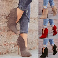 Women's Fashion Sexy Ankle Boots Ladies Autumn and Winter High Heels Shoes Solid Color Casual Dress Shoes