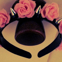Pink Roses and spikes headband by LovelyScum on Etsy