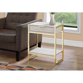 """24"""" Beige Marble Particle Board and MDF, and Gold Metal Accent Table"""