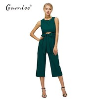 Summer Fashion Belt Corset Hollow Out  Women Wide Leg Jumpsuit Sleeveless  Bodycon Jumpsuit