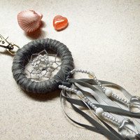 Grey Purse Charm Reflective With Coral Gemstone, Dream Catcher Handbag Charm, KeyChain