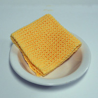 Large Hand Knit Washcloth in Yellow, Knit Dishcloth, Knit Dust Cloth, 100% Cotton, mix and match to make a custom set, Housewarming gift