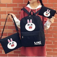 The rabbit cartoon print Three piece Casual Laptop Bag Shoulder School Bag Backpack
