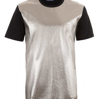 METALLIC LEATHER LOOK FRONT T-SHIRT