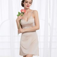 Women Full Slips REAL SILK Sexy slip Solid V deep neck Anti emptied Padded bra slips new underwear Comfortable sleep dress