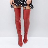 River Island Leather Look Over The Knee Heeled Boots at asos.com