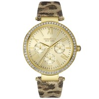 Ladies' Caravelle New York Leopard Leather Crystal Watch