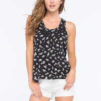 Chloe K Ditsy Floral Womens Tank Black  In Sizes