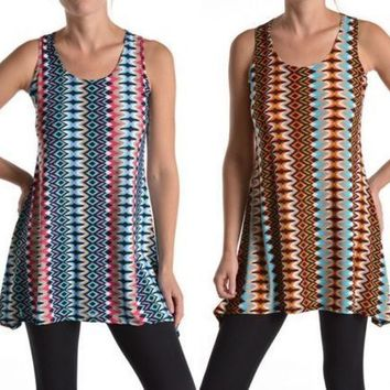 Multi Colors Striped Sleeveless Camisole Long Tunic Tank Top Blouse