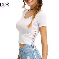 DIDK New Summer 2016 New Arrival Ladies T shirts Short Sleeves Casual Tops Womens Round Neck Lace-Up Side Crop T-shirt