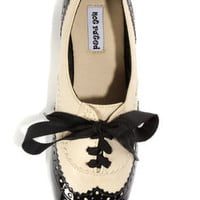 Not Rated Black Tie Black and Cream Oxford Flats