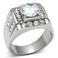 Mens Rings TK348 Stainless Steel Ring with AAA Grade CZ