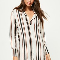 Missguided - White Stripe Short Shirt Dress