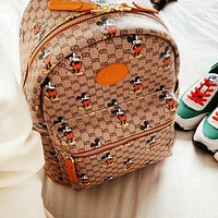 GUCCI x Disney Women Men Leather Daypack School Bag Backpack Shoulder Bag