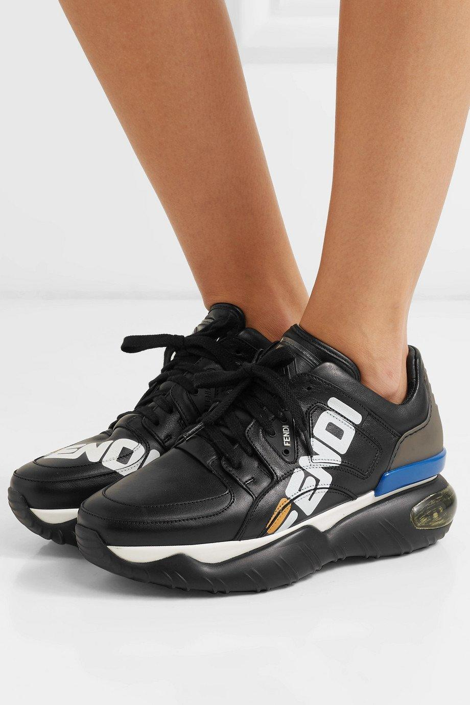 Image of FENDI Logo-print leather and rubber sneakers