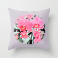 Lovely pink orchid flower color pencil sketch. floral photo art. Throw Pillow by NatureMatters