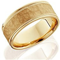 256 8mm Hammered Mens Wedding Band 14K Yellow Gold