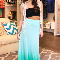 Take a Dip-dye Maxi Skirt - Mint