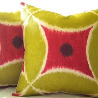 Chartreuse Watermelon Ikat pillow cover 20 X 20