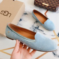UGG Autumn New Hot Sale Women Comfortable Leather Single Shoes Blue