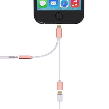 2 in 1 Lightning Adapter for iPhone 7 / 7 Plus, Cell Connectors Lightning Charger and 3.5mm Earphone Stereo Jack Cable Adapter for iPhone 7/7 Plus/6s/6/5s/5 [No Music Control] (Rose Gold))
