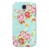 Vintage floral roses blue shabby rose pattern samsung galaxy s4 cases